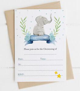 20 Baby Elephant Christening Invitations Boy or Girl Blue/Pink