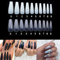 500 x Full Cover False Nail Art Tips Clear Natural Ballerina Coffin Style Long