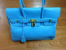 Italian Leather Handbag in Cyan with Special Security Features