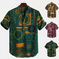 Men Cotton Linen Ethnic Printed Short Sleeve Casual Henley Shirts Summer Tops UK