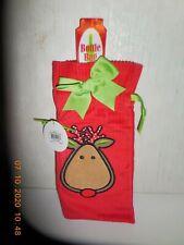 New listing Cute Mud Pie Christmas Corduroy Wine Bottle Sack Gift Bag Reindeer