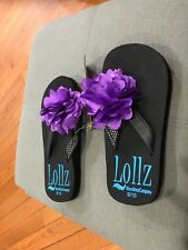 Girls Shoes Kids Waveware Black Flip Flops Arch Support Purple Flowers SIZE 9/10