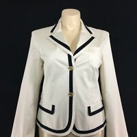NEW Talbots 16 XL Blazer Off White Navy Blue Stripe 3 Pocket Gold Button Jacket