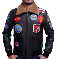 TOP GUN Men's Jet Fighter Bomber Navy Air Force Pilot Synthetic Leather Jacket