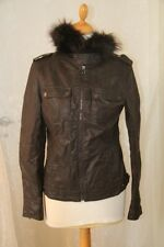 OSLEY   -  Veste imitation cuir Beige col amovible marron taille 42 neuf