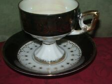 Vintage Bone China Cup & Saucer No Markings Black White Gold Accents & Trim