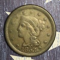 1853 Braided Hair Copper Large Cent Collector Coin for Collection. Free Shipping