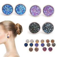 Fashion Boho jewelry Rose Gold False druzy Stud Earrings for Women Size 12mm U