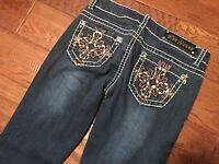 MISS CHIC USA STRETCH DENIM LOW RISE RHINESTONE BLING BOOTCUT JEANS SIZE 1