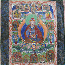 GURU RIMPOCHE PADMASAMBHAVA ANTIQUE TIBET THANKA VERY LARGE MANY FIGURES NEPAL