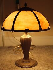 Antique Edward Miller Art Nouveau 6 Panel Caramel Slag Glass Table Lamp c.1920
