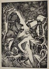 LARGE 1926 GERMAN EXPRESSIONIST WOOD BLOCK PRINT - PENCIL SIGNED - INSCRIBED