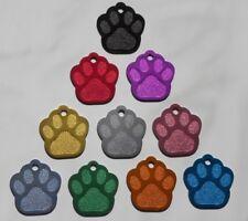 Médaille PATTE gravée pour animaux chien ou chat - 10 couleurs - 2 tailles