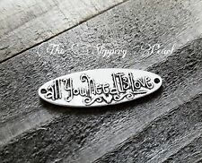 Quote Pendant Word Pendant Inspirational Word Charm Connector Silver Link