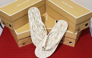 MICHAEL KORS Thong Flip Flops  White  Size 10(M)