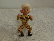 troll doll 1992 TNT soldier warrior in camo blonde hair violet eyes movable