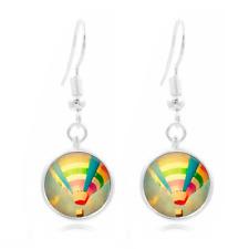 Hot air balloon glass Frea Earrings Art Photo Tibet silver Earring Jewelry #313