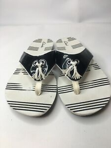 Clarks Womens Sz 10M Flip Flops Thong Wedge Black & White Tassels Nautical Beach