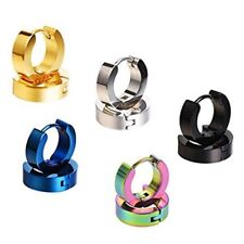 Stainless Steel Small Hoop Earrings Hypoallergenic Earring 5 Colors Pairs W2e1