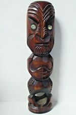 Vintage Carved Wooden Tiki Statue Auckland New Zealand Maori Paua Shell Eyes