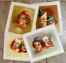 4 Vintage Hoppin CLOWNS Oil On Canvas Art Circus Paintings Lot Sad Happy Hobo