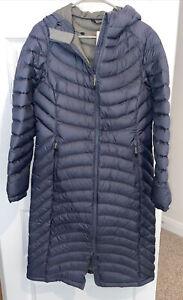 LL BEAN ULTRALIGHT 850 DOWN HOODED COAT Bluish Gray women's S Reg Broken Zip - F