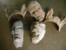 HALLOWEEN PROP HAUNTED HOUSE WITCH  DOG & PIG MAN  HEAD  PLASTIC CAST PROPS SET