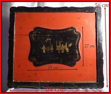 Chine Ancienne Dynastie Qing 1860 Important Coffre Bois Laqué Noir Rouge & Or
