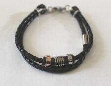 Armband Herren Leder schwarz mit Edelstahl 2 reihig  Art Nr 4-201167-001