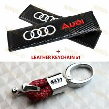 Carbon Embroidery Seat Belt Cover Shoulder Pads + Red Rv Style Keychain for Audi