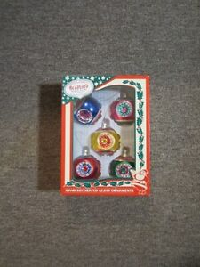 Bradford Hand Decorated Glass Christmas Ornaments In Box - 2003 - VINTAGE