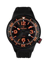 POSEIDON Unisex-Armbanduhr L Analog Silikonband UP00407 Schw./Orange UVP 139,- €