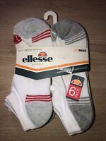 ELLESSE Drymaxx Trainer Sock Mens White Low-Cut Cushion 6/pk Sports Socks BNIP