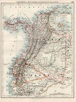 Antique Map Of Colombia & Ecuador South America  Johnston 1892