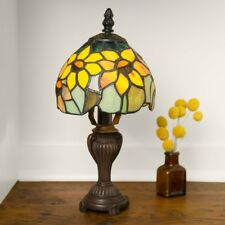 """Stained Glass Tiffany Style Sunflower Blossoms Mini Lamp 12"""" H x 6"""" Shade"""