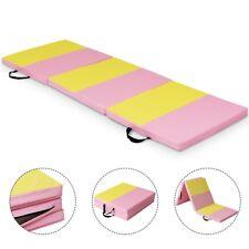 6' x 2' Folding Panel Fitness Gymnastics Mat Gym Yoga Exercise Mat Pink & Yellow