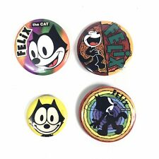 Felix The Cat Vintage Set Of 4 Button Pins Cartoon Laughing Rainbow