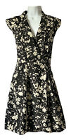 MELA Women's UK 12 Tea Dress Fit & Flare Monochrome Black White Digi Floral Chic