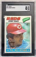 1977 Topps #70 Johnny Bench Cincinnati Reds SGC 8 NM-MT