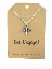 """Silver Airplane Necklace """"Bon Voyage"""" Message Card Quote Travelling Gift"""