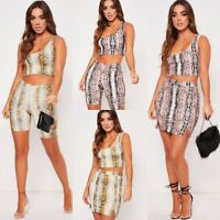 Women Snake Print One Shoulder Crop Top and Cycling Shorts Co-ord Two Piece Set