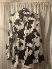 Fab RIVER ISLAND Black White Cow Shirt Blouse BNWT £35 Gold Lion Buttons Animal