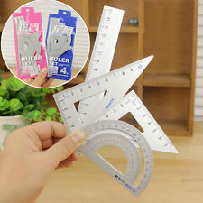 4Pcs Drawing School Supplies Square Triangle Ruler Aluminum Alloy Protractor TOP