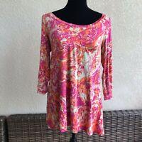 Womens LOGO Lori Goldstein Pink Orange Beige Abstract Print Knit Top Size XS
