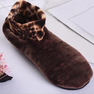Women Winter Warm Leopard Bed Non Slip Home Indoor Slippers Floor Socks CA