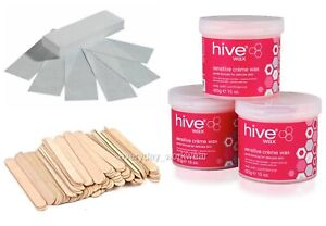Hive Hair Removal Hot Wax Kit Salon Value Pack of 3 Pots Strips Spatulas Gift