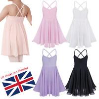 Kids Girls Lyrical Ballet Gymnastics Leotard Dance Dress Dancewear UK! Age 2-12