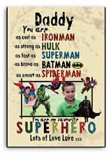Personalised DADDY SIGN,Superhero Father`s day Gift,Batman,Hulk,Wooden Plaque