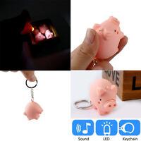 Cute Pig Shape LED Key Chain with Sound Key Ring Mini Flashlight Torch Kids Toys