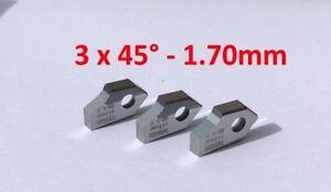 Set of 3 x 45°-1.70mm.Seat cutting inserts tip bit, SERDI ROTTLER SUNNEN